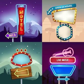 Ensemble de rétro de paysage avec des bannières d'éclairage au néon pour la publicité, conseil pour motel andhop