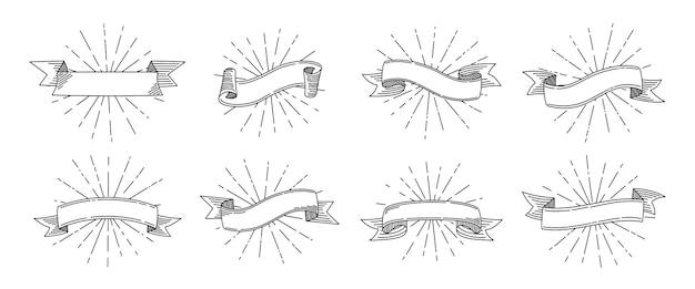 Ensemble rétro de ruban. vieux ruban avec des rayons lumineux, collection de rubans vierges de dessin animé de croquis