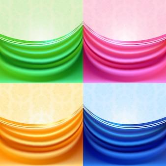 Ensemble de rideau coloré, tissu de soie