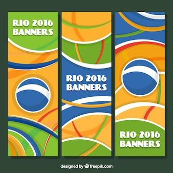 Ensemble de rio 2016 abstraite bannières avec des formes