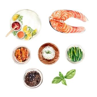 Ensemble de riz aquarelle isolé, poivre, illustration de poisson à des fins décoratives.