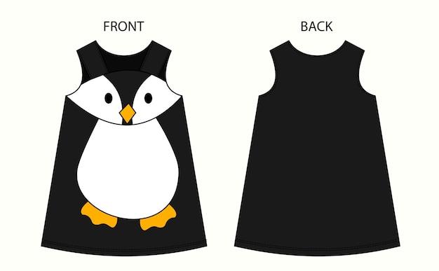 Ensemble De Robe Penguin Pour Fille Vue Avant Et Arrière Vecteur Premium