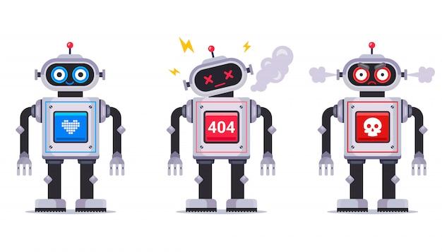 Ensemble de robot aimable et cassé. jouet mécanique pour enfants. illustration de caractère plat.