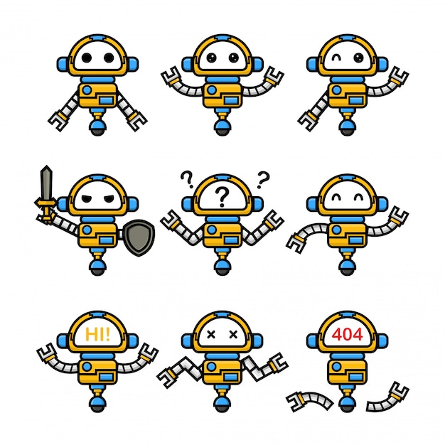 Ensemble de robot mignon avec pose différente