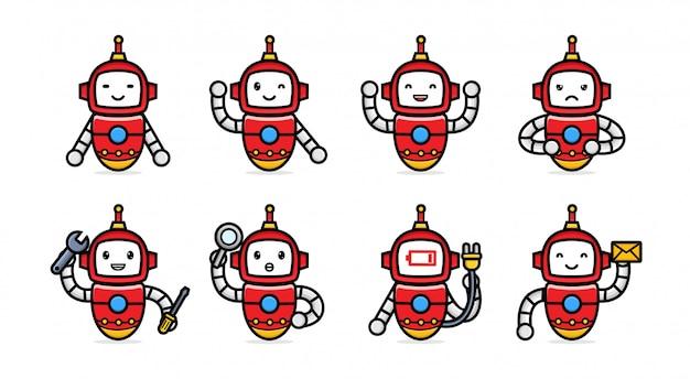 Ensemble de robot rouge avec pose différente