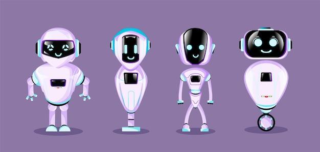 Ensemble de robots de dessin animé mignon.