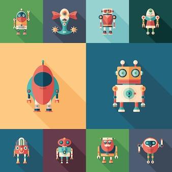 Ensemble de robots spatiaux d'icônes carrées plates avec longues ombres.