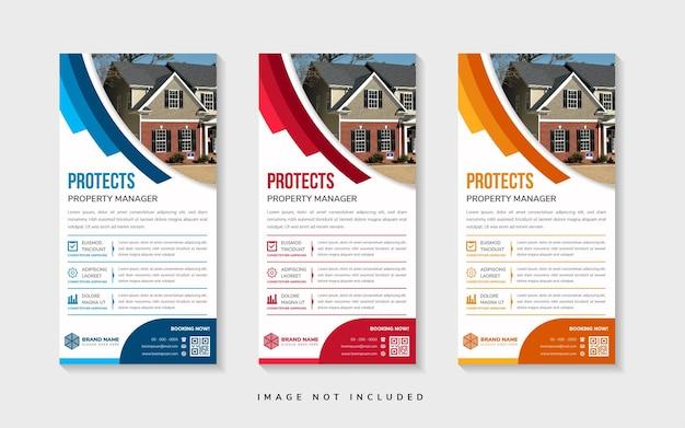 Ensemble de roll up vertical de protéger les gestionnaires immobiliers x panneau d'affichage de modèle de bannière avec demi-bouclier