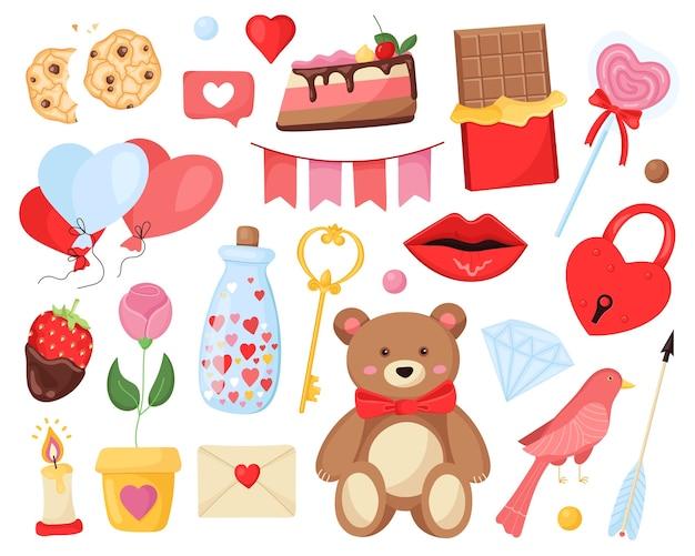 Ensemble romantique d'éléments mignons pour la saint-valentin et le mariage.