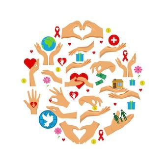 Ensemble rond plat d'icônes de charité