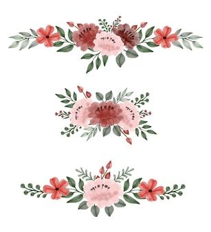 Ensemble de roses roses et rouges aquarelle bouquet floral