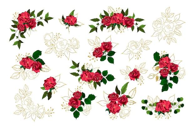Ensemble de roses rouges et dorées