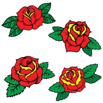 Ensemble de roses de style tatouage old school sur fond blanc. éléments pour affiche, carte postale, t-shirt. illustration