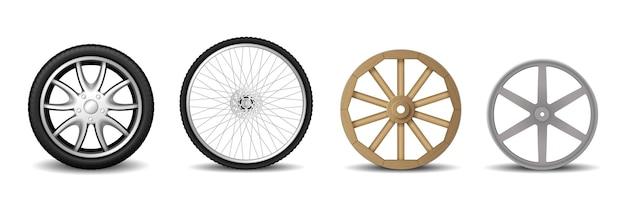 Ensemble de roues réalistes : pneu de voiture, jante, roue de vélo de montagne et vieille roue en bois pour chariot isolé sur fond blanc. illustration vectorielle 3d