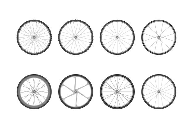 Ensemble de roues de vélo avec différents pneus. illustration vectorielle isolée dans un style plat