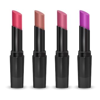 Ensemble de rouge à lèvres, couleurs roses et violets, illustration vectorielle réaliste isolé sur blanc