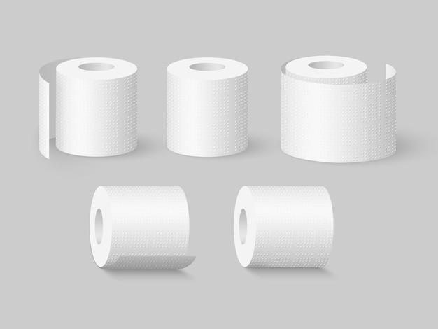 Ensemble de rouleaux de papier toilette doux réalistes.