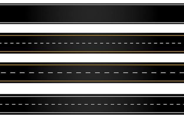 Ensemble de route sinueuse et autoroutes avec marquages de division isolés