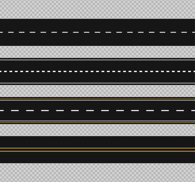 Ensemble de routes sinueuses et d'autoroutes avec des marques de division isolées