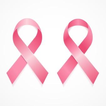 Ensemble de ruban de cancer du sein isolé sur blanc