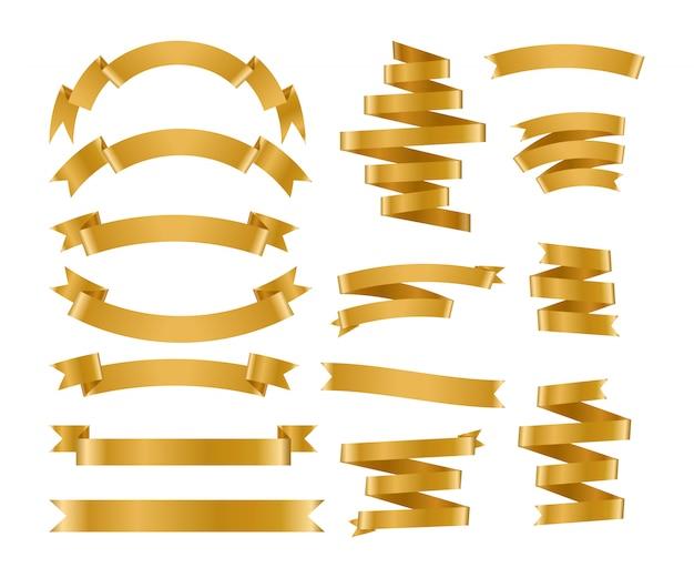Ensemble de ruban et d'étiquettes en or brillant.