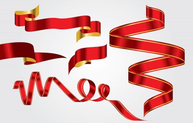 Ensemble de ruban rouge et or