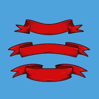 Ensemble de ruban rouge vintage actif d'illustration vectorielle graphique