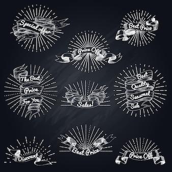 Ensemble de ruban de vente dessiné à la main
