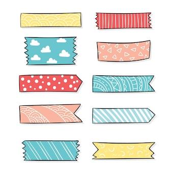 Ensemble de ruban washi dessiné à la main
