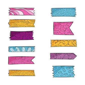 Ensemble de ruban washi dessiné