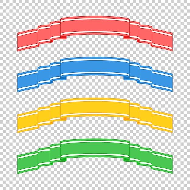Ensemble de rubans de bannière isolés colorés sur transparent