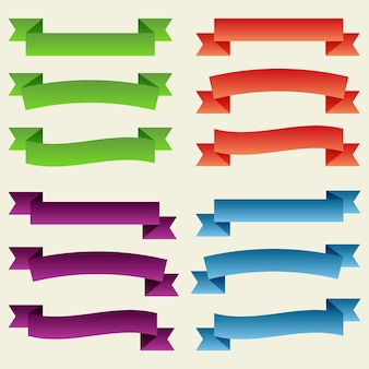 Ensemble de rubans et de bannières vides colorés. prêt pour votre texte ou votre conception. illustration vectorielle isolée.