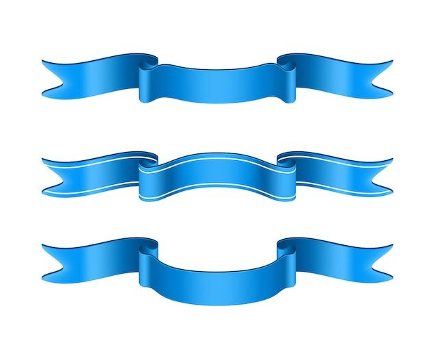 Ensemble de rubans bleus isolés