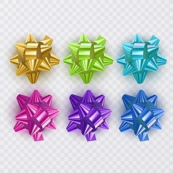 Ensemble de rubans cadeaux avec des éléments cadeaux bow colorés