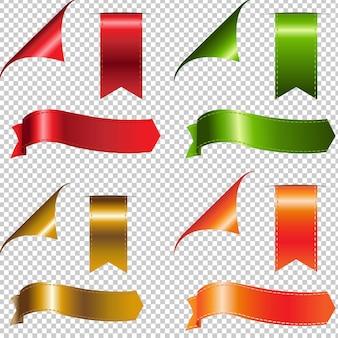 Ensemble de rubans colorés, isolé sur transparent
