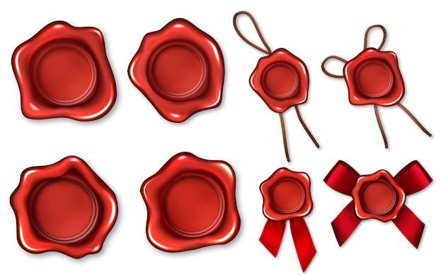 Ensemble de rubans de corde de sceaux de cire rouge réaliste