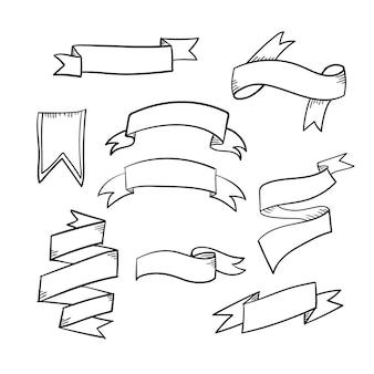 Ensemble de rubans dessinés à la main. vecteur de couleur noire de style doodle.