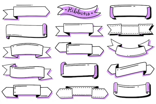 Ensemble de rubans doodle journal bullet. collection de rubans de contour dessinés à la main. modèles vides pour les étiquettes. style de griffonnage