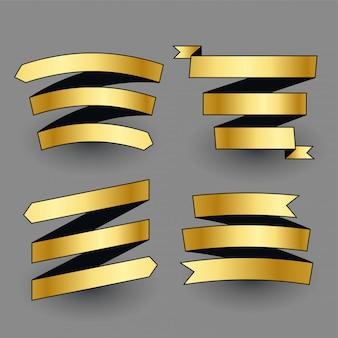Ensemble de rubans dorés brillants premium