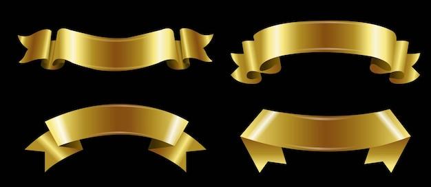 Ensemble de rubans dorés isolés.
