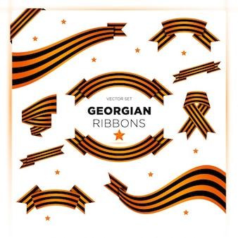 Ensemble de rubans georgien militaires pour la journée de la victoire et le 23 février