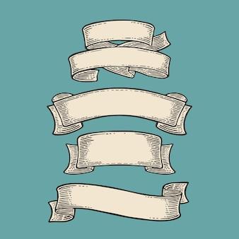Ensemble de rubans isolé sur fond bleu gravure vintage de vecteur noir