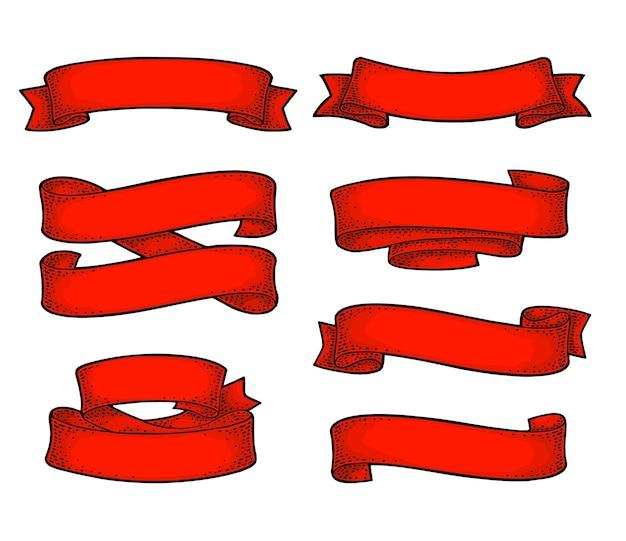 Ensemble de rubans isolés sur fond blanc gravure vintage de vecteur rouge et noir