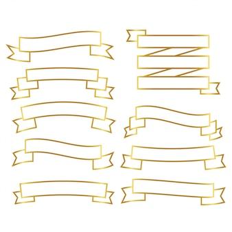 Ensemble de rubans de lignes dorées