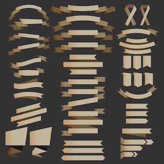 Ensemble de rubans métalliques bruns