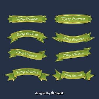 Ensemble de rubans de noël verts