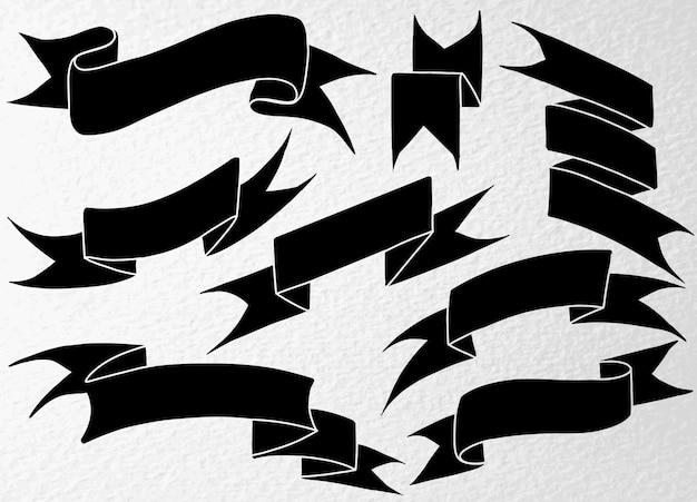Ensemble de rubans noirs dessinés à la main