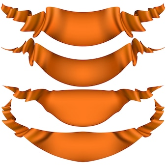 Ensemble de rubans orange brillant sur fond blanc.