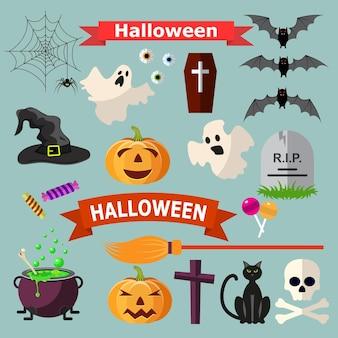 Ensemble de rubans et de personnages d'halloween.