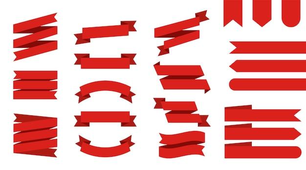 Ensemble de rubans plats isolés. ruban de couleur rouge
